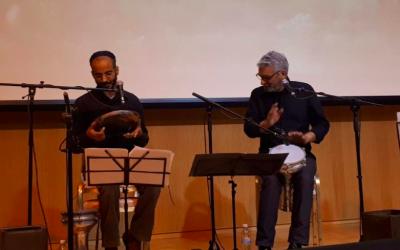 Tom Fogel (left) and Ofer Callaf rehearsing together on their show (Courtesy Tom Fogel)