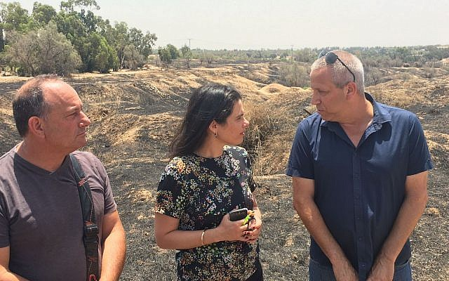 Justice Minister Ayelet Shaked (center) tours Israel's south, July 3, 2018 (courtesy)