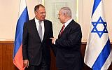 Russian Foreign Minister Sergey Lavrov, left, and PM Netanyahu at the Prime Minister's Office in Jerusalem, July 23,2018. (Haim Zach/GPO)