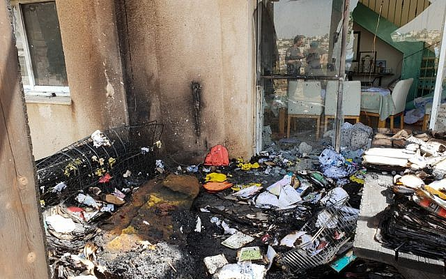 Damage to a home in the West Bank settlement of Karmei Tzur that the IDF says was caused by a Molotov cocktail attack, July 25, 2018. (Asaf Wilf)