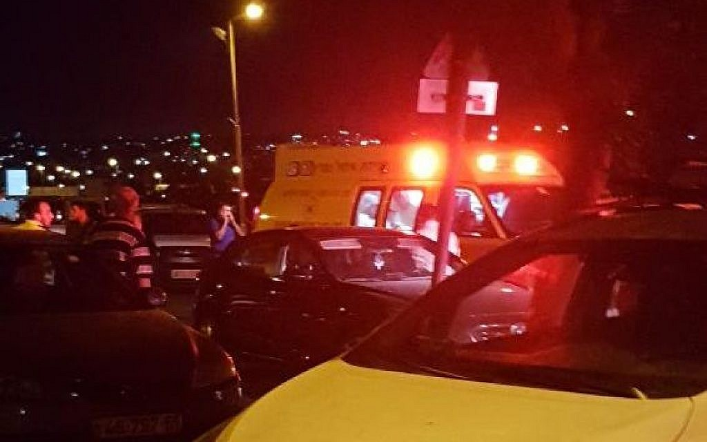 The scene of a stabbing attack in the West Bank settlement of Adam, July 26, 2018. (Magen David Adom)