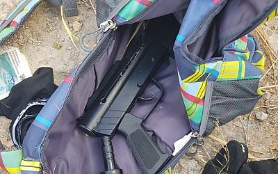 The Carlo-style machine guns found a backpack carried by two Palestinians that snuck into Israel from the West Bank on July 28, 2018. (Border Police)