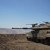 An IDF tank deployed to the Golan Heights, near the Syria border, on July 1, 2018. (Israel Defense Forces)