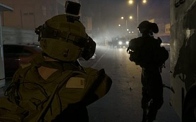 File: Israeli troops during an arrest raid in the Dheisheh refugee camp, in a photo released on July 23, 2018. (IDF Spokesperson)