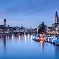 The Limmat river in Zurich, Switzerland, January 2017. (Kuhnmi/Flickr via JTA)