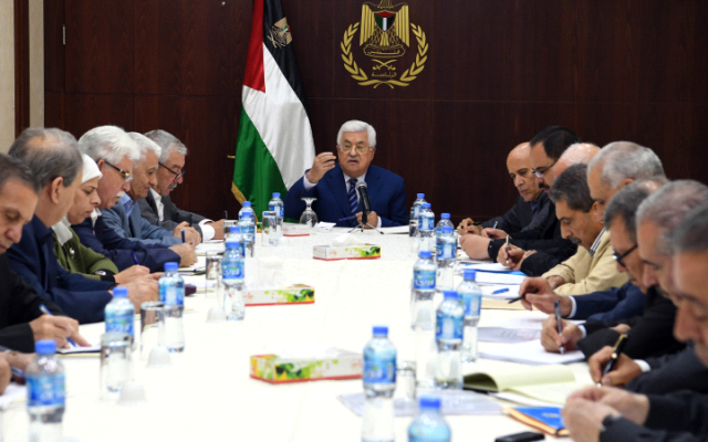 Mahmoud Abbas, center, addressing a Fatah Central Committee meeting in Ramallah on July 8, 2018. (Wafa)