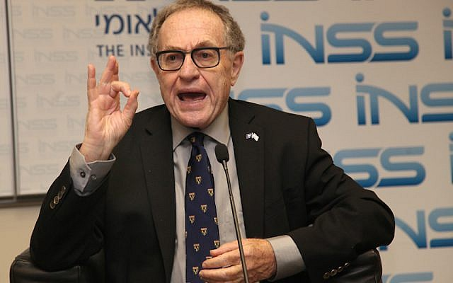 Professor Alan Dershowitz participates in a panel discussion at the Institute for National Security Studies in Ramat Aviv on December 11, 2013. (Gideon Markowicz/Flash90/via JTA)
