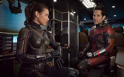 Paul Rudd and Evangeline Lily as Ant Man and the Wasp. (Courtesy Marvel)