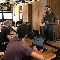 Entrepreneurs at work at Barclay's RISE accelerator in Tel Aviv, June 25, 2018 (Shoshanna Solomon/Times of Israel)