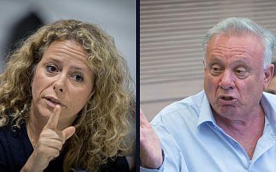 Composite picture of Ayelet Nachmias Verbin  (L) (Yonatan Sindel/Flash90) and Eitan Broshi (Miriam Alster/Flash90)