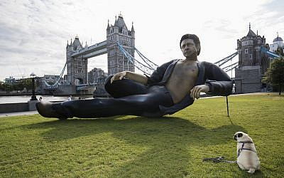 Celebrating 25 years since Jurassic Park first premiered in the UK, streaming service NOW TV unveils a statue of Jeff Goldblum semi-naked torso at Potters Field on July 18, 2018, in London, England.  (John Phillips/Getty Images via JTA)