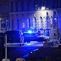 Police arrive after a synagogue was attacked in Gothenburg, Sweden, December 9, 2017. (Adam Ihse/AFP/Getty Images/via JTA)