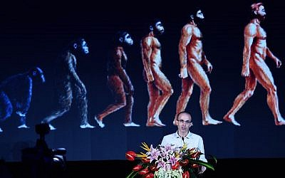 Israeli historian Yuval Noah Harari lecturing at the Global Artificial Intelligence Summit Forum in Hangzhou, China, July 9, 2017. (VCG/VCG via Getty Images, via JTA)