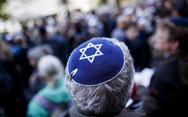 An illustrative photo of a man wearing a kippah. (Carsten Koall/Getty Images via JTA)