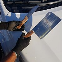 Police found a knife and a meat cleaver in the car of a Palestinian man near the West Bank settlement of Beit El on July 7 2018 (Police Spokesperson)
