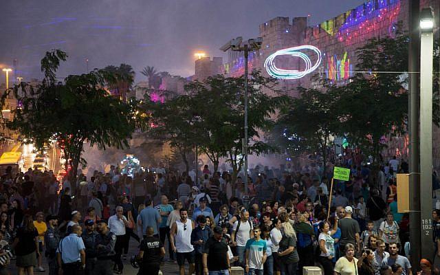 Outside Jaffa Gate at the 2018 Jerusalem Light Festival (Courtesy David Saad)