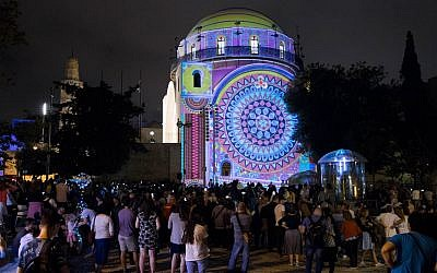 A captivating projection on the Hurva Synagogue, in the 2018 Jerusalem Light Festival (Courtesy David Saad)
