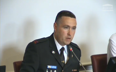 IDF Spokesman Brig. Gen. Ronen Manelis briefs French lawmakers at the National Assembly's Foreign Affairs Committee in Paris, on Tuesday, July 3, 2018. (screen capture of National Assembly footage)