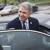 US Rep. Michael McCaul, R-Texas, leaves the Capitol on April 27, 2018. (Tom Williams/CQ Roll Call/via JTA)