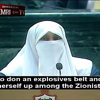 Jordanian lawmaker Huda Etoom tells parliament of late mother's desire to be a suicide bomber among 'Zionist Jews,' July 17, 2018 (Screenshot via MEMRI)