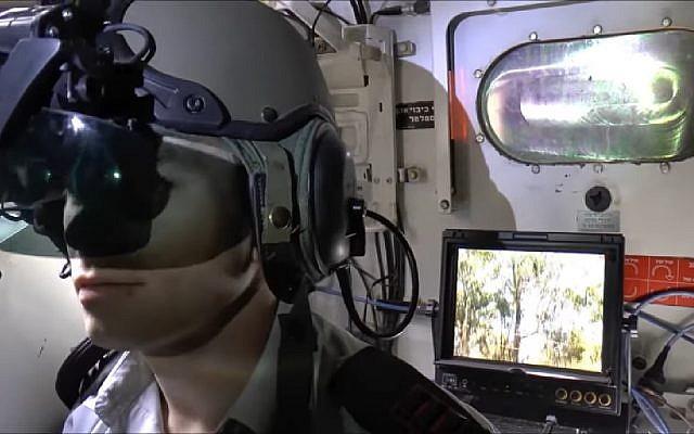 Inside of new 'dual use' Merkava 4 Barak tank. (Screen capture: YouTube)