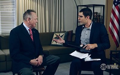 Sacha Baron Cohen (r) meets with defeated Alabama Senate candidate in an episode of 'Who is America?' aired on July 29, 2018. (Screen capture: YouTube)