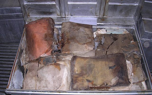 The Iraqi Jewish Archive was found in the flooded basement of the Iraqi intelligence services in Baghdad in 2003. This photo shows items before they were restored by the US (National Archives)