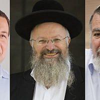 (From L to R) Samaria Regional Council chairman Yossi Dagan, Chief Rabbi of Safed Shmuel Eliyahu and former Samaria Regional Council chairman Gershon Mesika. (Yossi Zeliger, Yonatan Sindel and Miriam Alster/Flash90)