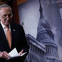 Senate Minority Leader Charles Schumer leaving after a news conference on Capitol Hill in Washington, D.C., Jan. 20, 2018. (Alex Wong/Getty Images via JTA)