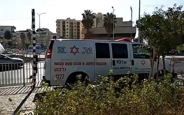 An ambulance in Afula after a man was critically wounded in an explosion in his car, July 23, 2018 (Magen David Adom)