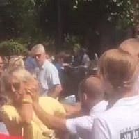 Members of the neo-Nazi Nordic Resistance Group attack pro-Israel activists in Gotland, Sweden in July 2018. (screen capture: Expressen)