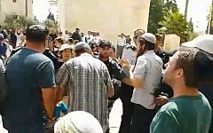 Jewish visitors scuffling with police on the Temple Mount, July 22, 2018. (screen capture: Facebook)