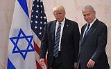 US President Donald Trump (left) with Israeli Prime Minister Benjamin Netanyahu, at the Israel Museum in Jerusalem, May 23, 2017. (Mandel Ngan/AFP/Getty Images via JTA)