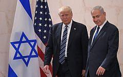 US President Donald Trump (left) with Israeli Prime Minister Benjamin Netanyahu, at the Israel Museum in Jerusalem, May 23, 2017. (Mandel Ngan/AFP/Getty Images via JTA)