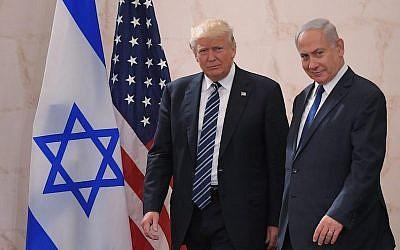 US President Donald Trump (left) with Israeli Prime Minister Benjamin Netanyahu at the Israel Museum in Jerusalem, May 23, 2017. (Mandel Ngan/AFP/Getty Images via JTA)