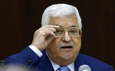Palestinian Authority President Mahmoud Abbas chairs a meeting of the Palestine Liberation Organization (PLO) Executive Committee at the Palestinian Authority headquarters in the West Bank city of Ramallah July 28, 2018. (ABBAS MOMANI/AFP)