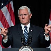 US Vice President Mike Pence speaks about the creation of a new Space Force branch of the military at the Pentagon on August 9, 2018., in Arlington, Virginia. (AFP Photo/Saul Loeb)