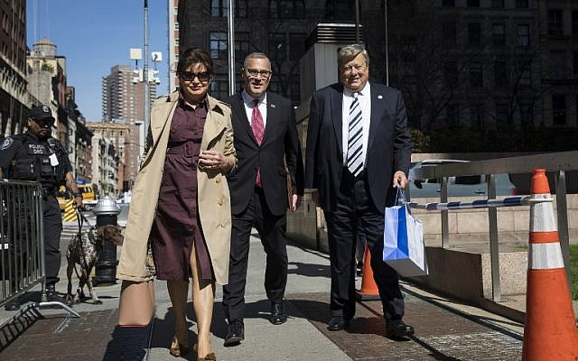 In this photo taken on May 2, 2018  Amalija and Viktor Knavs, parents of US First Lady Melania Trump, arrive with their lawyer Michael Wildes (C) at US Citizenship and Immigration Services at the Jacob K. Javits Federal Building in New York City. (AFP PHOTO / GETTY IMAGES NORTH AMERICA / Drew Angerer)