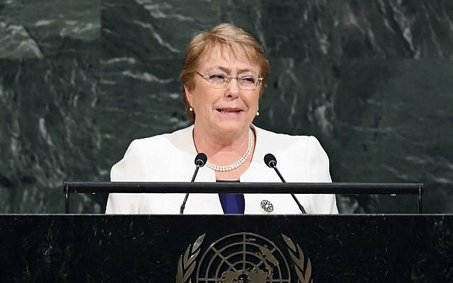 In this file photo taken on September 20, 2017, Chile's then-president Michelle Bachelet addresses the 72nd UN General Assembly at the United Nations in New. (AFP Photo/Jewel Samad)