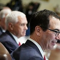 US Treasury Secretary Steven Mnuchin takes part in a Cabinet meeting at White House on August 16, 2018. (AFP Photo/Mandel Ngan)