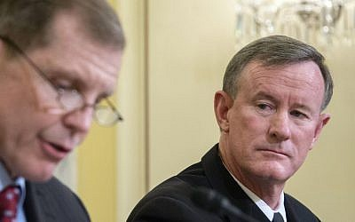 In this file photo taken on March 11, 2014, then-commander of US Special Operations Command, Admiral William H. McRaven, right, and Assistant Secretary of Defense for Special Operations/Low-Intensity Conflict, Michael D. Lumpkin testify before the Senate Armed Services subcommittee on Emerging Threats and Capabilities at the US Capitol in Washington. (AFP Photo/Jim Watson)