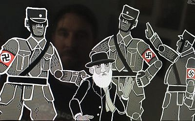Founder and game designer at Paint Bucket Games Joerg Friedrich is reflected in a screen displaying a screenshot of his historical resistance strategy game 'Through the Darkest of Times,' featuring officers wearing the Nazi swastika, in Berlin on August 17, 2018. (AFP/John MacDougall)