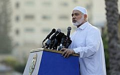 Hamas terror group leader Ismail Haniyeh delivers a speech on the first day of the Muslim Eid al-Adha holiday in Gaza City, the Gaza Strip, August 21, 2018.  (Anas BABA/AFP)