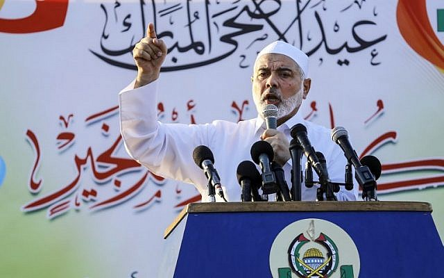 Hamas leader Ismail Haniyeh gives a speech on the first day of the Muslim Eid al-Adha holiday in Gaza City on August 21, 2018. (AFP Photo/Anas Baba)