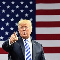 US President Donald Trump arrives for a political rally at Charleston Civic Center in Charleston, West Virginia, on August 21, 2018. (AFP/Mandel Ngan)