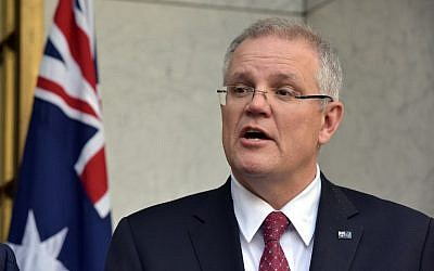 Australia's Treasurer Scott Morrison attends a press conference in Parliament House, in Canberra, on August 22, 2018.  (AFP/MARK GRAHAM)