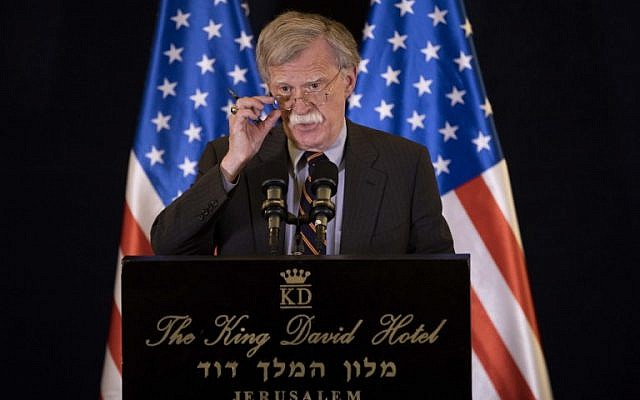 US National Security Adviser John Bolton speaks at a press conference in Jerusalem