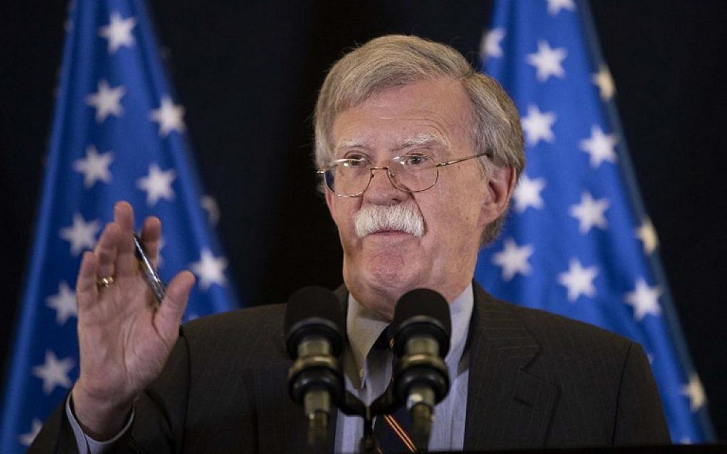 US National Security Adviser John Bolton speaks during a press conference in Jerusalem, on August 22, 2018. (AFP PHOTO / POOL / ABIR SULTAN)
