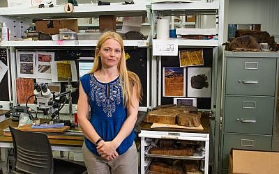Assistant professor of dendrochronology Dr. Charlotte Pearson in her lab at the University of Arizona. (Robert D. Demers)