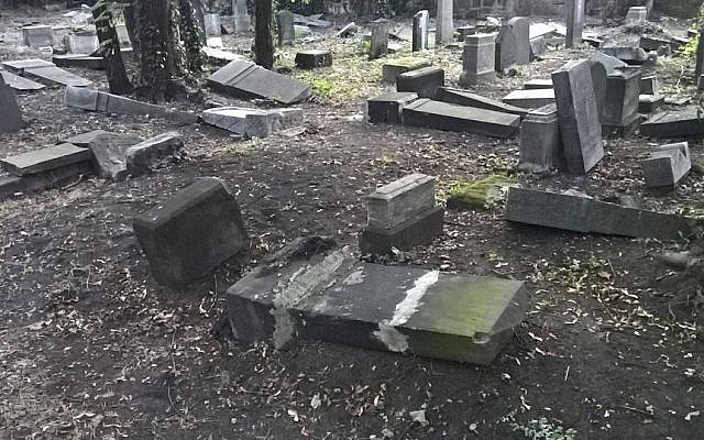 Headstones toppled and smashed at the Jewish cemetery in Mysłowice, Poland, in August 2018. (Jewish.pl/Facebook screen capture)